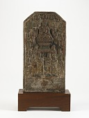 view Oblong tablet with Buddhist relief digital asset number 1