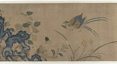 view Tapestry of flowers, a rock, birds, and butterflies digital asset number 1