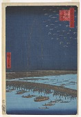 view <em>Fireworks at Ryōgoku Bridge (Ryōgoku hanabi)</em> from the series <em>One Hundred Famous Views of Edo (Meisho Edo Hyakkei)</em> digital asset number 1