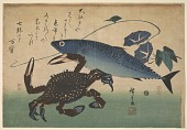 view Crab (<i>Kani</i> or <i>Kegani</i>) with Mackerel (<i>Saba</i>) and Morning Glory , with inscription digital asset number 1