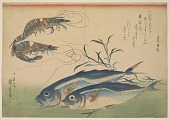 view Horse Mackerel (<i>Aji</i>) with Shrimp or Prawn, with inscription digital asset number 1