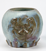 view Midsection of a vase with molded lion mask digital asset number 1
