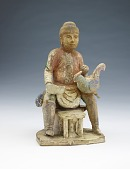 view Tomb figure of a seated man holding a chicken digital asset number 1