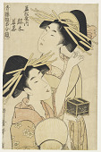view Two Girls, one with a Cricket Box, from <em>the series Seiro Yukun Awase Kagami</em> digital asset number 1