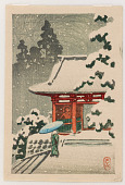 view Vermilion-lacquered temple gate in snow digital asset number 1
