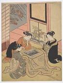 view Three women reading Kabuki yakusha banzuke digital asset number 1