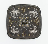 view Square mirror with floral medallion, plant sprays, birds, and insects digital asset number 1