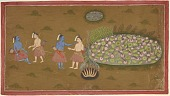 view Rama and Lakshmana by lotus pool during their exile, from a copy of the Ramayana digital asset number 1