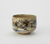 view Tea bowl with design of cranes and chrysanthemums digital asset number 1