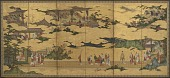 view Scenes from the life of the Ming Huang Emperor and Yang Guifei (one of a pair with F1901.20) digital asset number 1