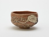 view Kenzan style tea bowl with design of crane and flowing water digital asset number 1