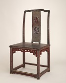 view Chair. Wood, covered with red lacquer and inlaid with mother-of-pearl digital asset number 1