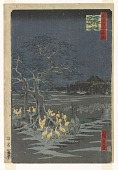 view <em>New Year's Eve Fox Fires under the Enoki Tree near Ōji (Ōji shōzoku wenoki ōtsugomorihi no kitsunebi)</em> from the series <em>One Hundred Famous Views of Edo (Meisho Edo hyakkei)</em> digital asset number 1