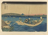 view Fugaku Sanjurokkei - Ryogoku Bridge sunset digital asset number 1
