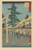 view Mishima station, from Fifty-three Stations Along the Tokaido (Tokaido Gojusan-tsugi) digital asset number 1