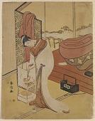view Girl lighting a lantern beside her bed digital asset number 1