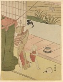 view A woman fixing a bed net while a child tugs at her robe digital asset number 1
