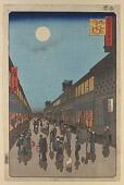view <em>Night View of Saruwaka-machi (Saruwaka-machi yoru no kei)</em> from the series <em>One Hundred Famous Views of Edo (Meisho Edo Hyakkei)</em> digital asset number 1