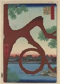 "view <em>""Moon Pine"" in Ueno (Ueno sannai Tsuki no matsu)</em> from the series <em>One Hundred Famous Views of Edo (Meisho Edo Hyakkei)</em> digital asset number 1"