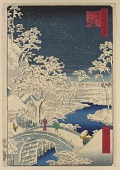 view <em>Meguro Drum Bridge and Sunset Hill (Meguro taikobashi Yūhi no oka)</em> from the series <em>One Hundred Famous Views of Edo (Meisho Edo Hyakkei)</em> digital asset number 1