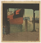 view Ferryboat Landing at Tsukishima, from the series Twelve Months of Tokyo digital asset number 1