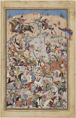 view Folio from a <i>Shahnama</i> [?] (Book of kings) by Firdawsi (d.1020); Battle scene digital asset number 1