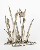 view Sculpture in the form of iris growing from a shaped waveform base digital asset number 1