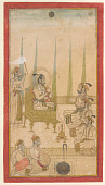 view Rana Amar Singh II seated on a terrace with courtiers digital asset number 1