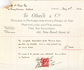 view Record of Charles Lang Freer's purchase of Whistler's Peacock Room from Obach & Co. in London digital asset: Record of Charles Lang Freer's purchase of Whistler's Peacock Room from Obach & Co. in London