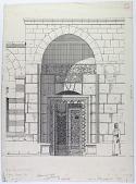 view Aleppo (Syria): Nur al-Din Maristan, Entrance Portal: Elevation with Arabic Inscription No. 108, in Naskhi Script [drawing] digital asset number 1