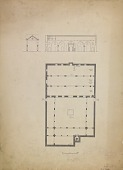 view D-121: Damascus. Salihiya. Jami' al-Hanabila, plan.SA-IV, fig.19 digital asset: Damascus (Syria): Muzaffari Mosque: Ground Plan and Elevation Showing Arcades Carried on Stone Piers and Columns [drawing]