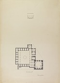 """view D-124: Damascus. Plan unidentified building marked """"unpublished"""" digital asset: Damascus (Syria): Unidentified Madrasa: Ground Plan [drawing]"""