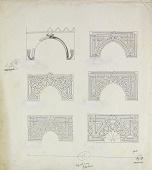 view D-126: Damascus. Six spandrils with marble mosaic: top left, Taq-i Bustan, right, Aleppo, Mashhad al-Husain. Center left, Aleppo, Shadhbakhtiya, right, Aleppo, Sultaniya. Bottom left, Aleppo, Firdaus, right, Damascus, Jakmakiya.SA-II, fig.83 digital asset: Damascus (Syria) and Aleppo (Syria): Six Spandrils with Marble Mosaic: Top: left, Taq-i Bustan; right, Aleppo, Mashhad al-Husain. Center left, Aleppo, Shadhbakhtiya; right, Aleppo, Sultaniya. Bottom left, Aleppo, Firdaus; right, Damascus, Jakmakiya [drawing]