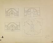 view D-127: Sha'miya. Plan and sections.SA-III, figs.116--119. digital asset: Sha'miya (Syria): Nur al-din Mosque: Penciled Elevation of Fac̦ades [drawing]