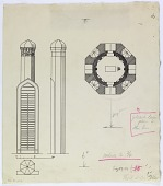 view Nishapur (Iran): Tomb of Farid-ud-din-Attar: Ground Plan and Elevation of the Tomb Tower [drawing] digital asset number 1