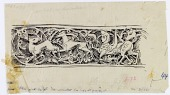 view Hama (Syria): Nur al-din Mosque, Mihrab: Arabesque Scroll Depicting Animals and Vegetal Ornaments [drawing] digital asset number 1