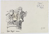 view Aleppo (Syria): Mosque of al-Hayyat: Sketch of Stone Capital in Roman Style [drawing] digital asset number 1