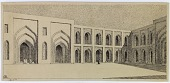 view Baghdad (Iraq): Mustansiriya Madrasa, South-West Fac̦ade in Courtyard: Perspective of Triple Arch of Prayer Hall [drawing] digital asset number 1