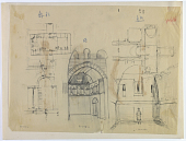 """view D-350a: Excavation of Kuh-e Khwaja (Iran): Ruins of Ghaga-shahr, """"Palace-Temple"""" Complex, South Gate and T-Shaped Iwan: Sketches and Plans digital asset: Excavation of Kuh-e Khwaja (Iran): Ruins of Ghaga-shahr, """"Palace-Temple"""" Complex, South Gate and T-Shaped Iwan: Sketches and Plans [drawing]"""