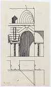 """view D-353: Kūh-i Khwāja. Elevation and plan of arch in palace digital asset: Excavation of Kuh-e Khwaja (Iran): Ruins of Ghaga-Shahr, """"Palace-Temple"""" Complex, Corner of Courtyard: Detail Elevation and Plan of Arcades [drawing]"""