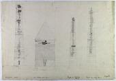 view Khosrogird (Iran), Radkan West (Iran), Damghan (Iran): Elevations of Tomb Tower and Minarets [drawing] digital asset number 1