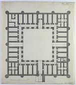view D-374: Ahuan. Ribat Anoshirwan, plan.SA-II, fig.43 digital asset: Ahuan (Iran): Ribat (Caravansarai) Anoshirwan: Ground Plan [drawing]