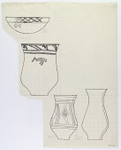 view Sistan (Iran): Reconstruction of Pottery with Painted Patterns: Three Beakers [drawing] digital asset number 1