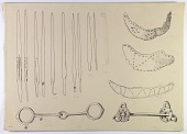 view D-671: Nihavand, Tepe Giyān. Horse bits, lance heads, copper bands. Ink digital asset: Vicinity of Nihavand (Iran): Hoops in Thin Sheet-Copper, Horse Bits, Lance Heads, from Prehistoric Mound of Tepe Giyan [drawing]