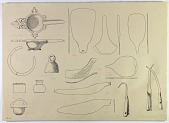 view D-675: Tepe Giyān and misc. Bronze objects, bells, tools, etc. Ink digital asset: Vicinity of Nihavand (Iran): Reconstruction of Bronze Objects, from Prehistoric Mound of Tepe Giyan [drawing]