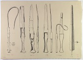view D-676: Nihavand, Tepe Giyān. Bronze daggers. Ink digital asset: Vicinity of Nihavand (Iran): Reconstruction of Bronze Daggers, from Prehistoric Mound of Tepe Giyan [drawing]