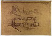 "view D-716: Firuzabad, Qaleh-i Dukhtar. Plan and elevation of palace of Ardashīr. Drawn by F. Krefter (sepia print, 2 copies). Marked ""Unpublished"" digital asset: Vicinity of Firuzabad (Iran): Palace of Ardashir I: Ground Plan, Drawn by Friedrich Krefter [blueprint]"