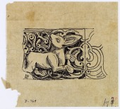 view Aleppo (Syria): Bab al-Nasr, Northern Gate of the Walled City: Drawing of a Fragment of Stone Border with Animal Design [drawing] digital asset number 1