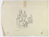 view Darband i Shaikhan, Northwest of Sarpul (Iran): Rock Relief Depicting King with Foot on the Prostrate Figure of an Enemy [drawing] digital asset number 1
