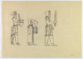 view D-902: Takht-i Kuwad (Iran): Human Figures of Worshippers Depicted on Gold Plate, from the Oxus Treasure in the British Museum digital asset: Takht-i Kuwad (Iran): Human Figures of Worshippers Depicted on Gold Plate, from the Oxus Treasure in the British Museum [drawing]